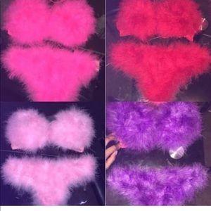Other - Fur bra and panties sets